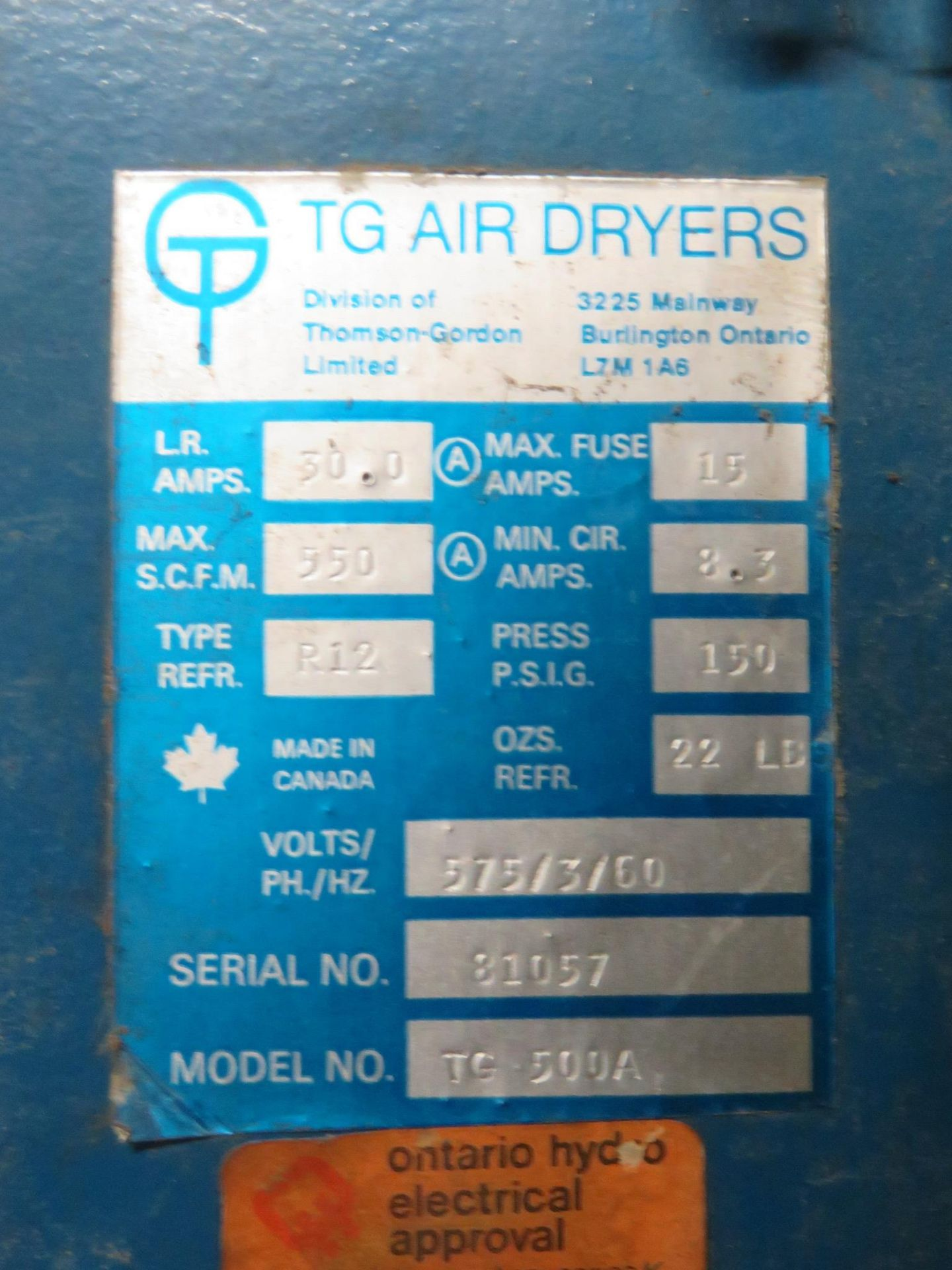 TG Air Dryer 500A - Image 5 of 6