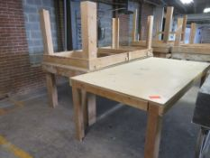 "Heavy Duty Wooden Work Tables Lot of 3 approx.96""x 48""x 36"""