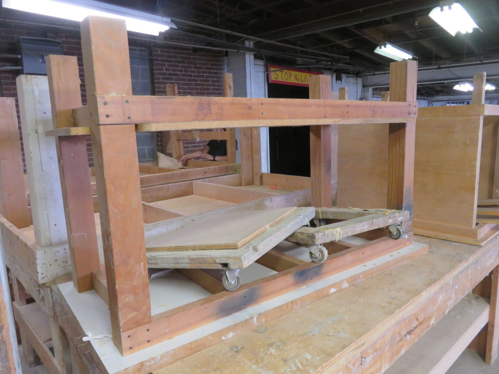 "Heavy Duty Wooden Work Tables Lot of 3 approx 96""x 48""x 36, 38""x 32""x 34"" 60""x 28""x 36"" - Image 2 of 4"