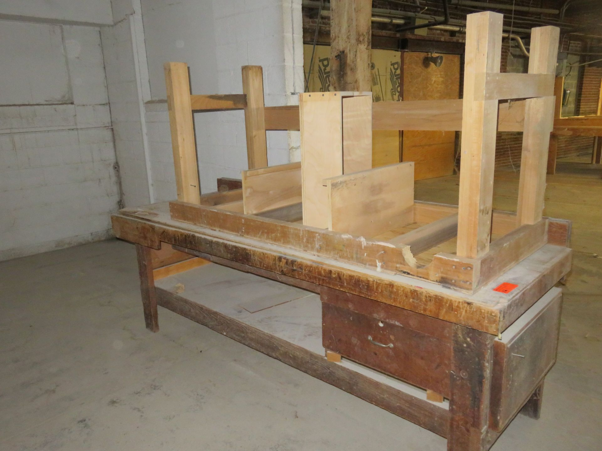 "Heavy Duty Wooden Work Tables Lot of 2 approx 96""x 35""x 34"" & 72""x 30""x 35"""