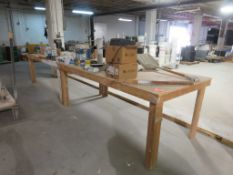 "Heavy Duty Wooden Worktables w/ Contents approx. 96""x 48""x 37"""