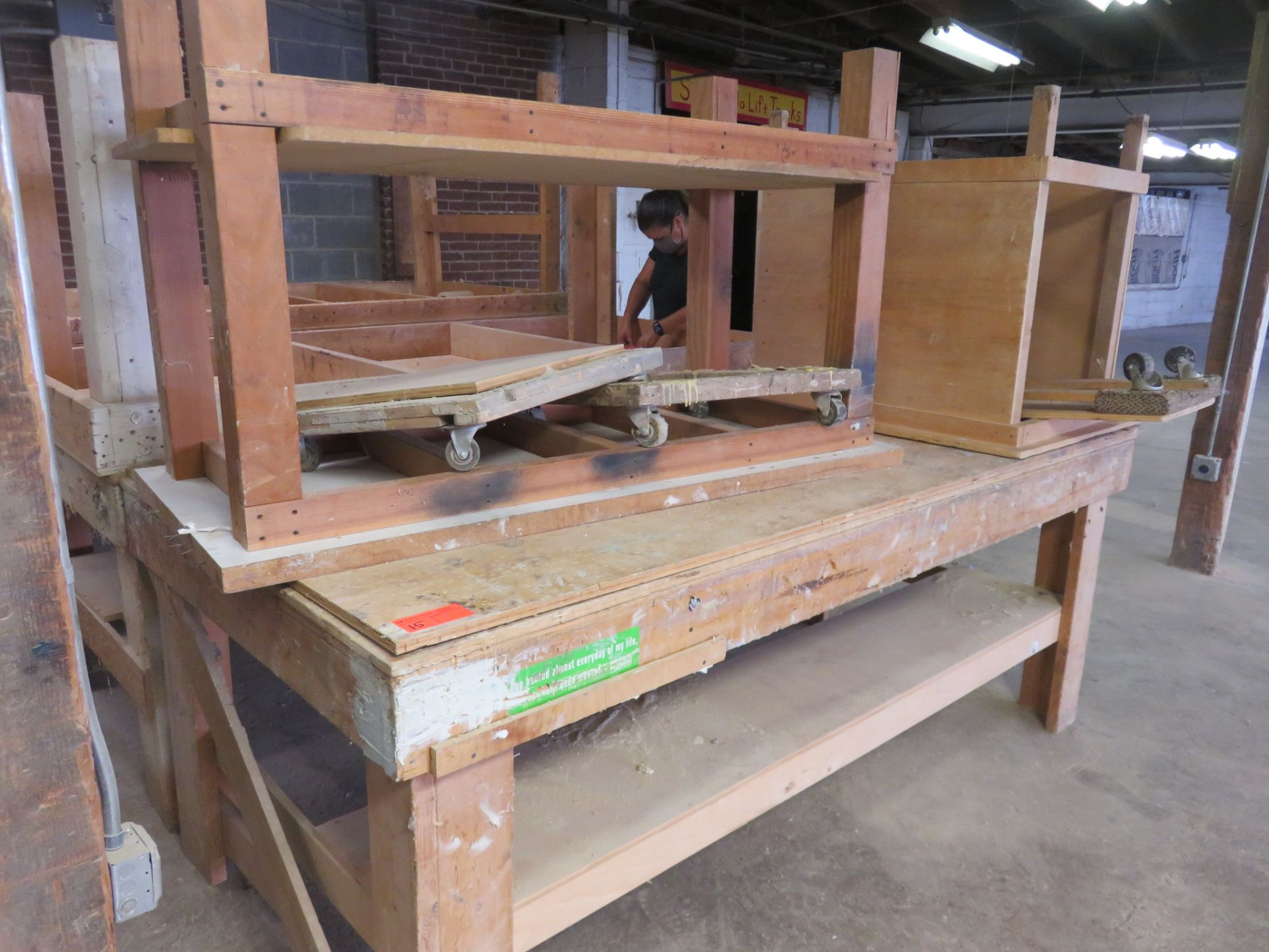 "Heavy Duty Wooden Work Tables Lot of 3 approx 96""x 48""x 36, 38""x 32""x 34"" 60""x 28""x 36"" - Image 3 of 4"