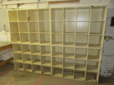 "Lot of Cubed Storage Shelving approx 96""x 14"" x 72"" & Custom Work Table approx 172""x 36""x 35"""