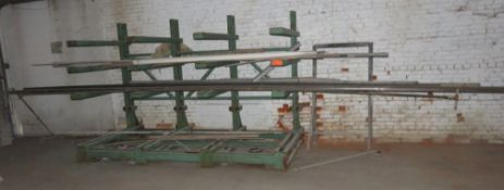 "Heavy Duty Cantilever Racking with Metal Stock Approx.123"" x 56.5"" x 82"""