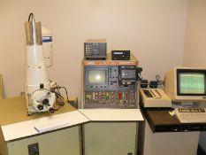 JEOL JSM-35CF SCANNING MICROSCOPE SYSTEM W/ CONTROLS, CAMERA SYSTEM ETC