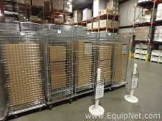 Lot of 4 Nexel and Eagle Lockable Wire Storage Cabinets On Wheels