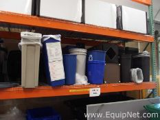 Large Lot of Plastic Trash and Recycling Bins