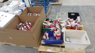 Lot of 2 Pallets With First Aid Center Boxes and Fire Extinguishers