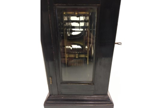 Lot 387 - 18/19th century English bracket clock in ebonised case with silvered chapter ring