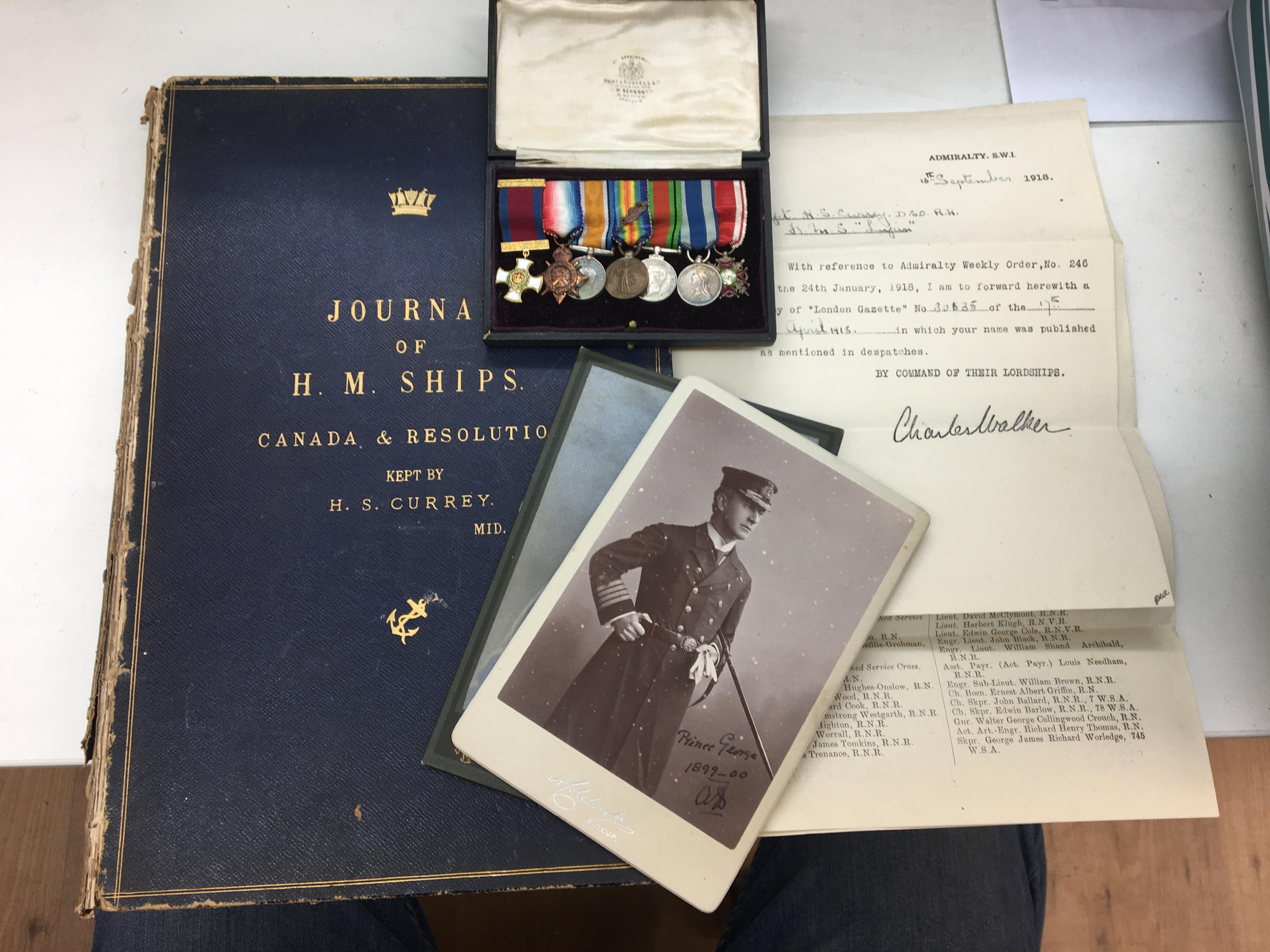 Lot 20 - Victorian RN Capt H S Currey DSO, memorabilia to inc miniature medal group, DSO (possibly gold GVR