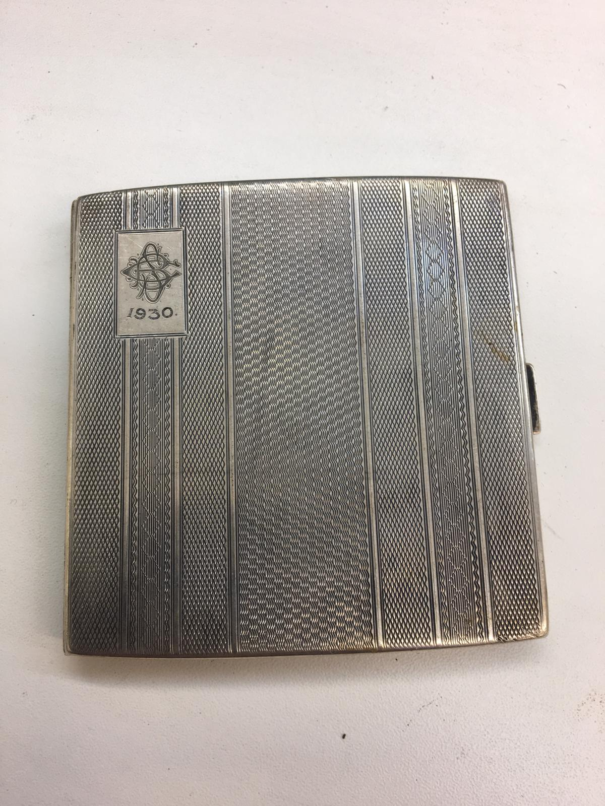 Lot 13 - HM Silver cigarette case weight 116g