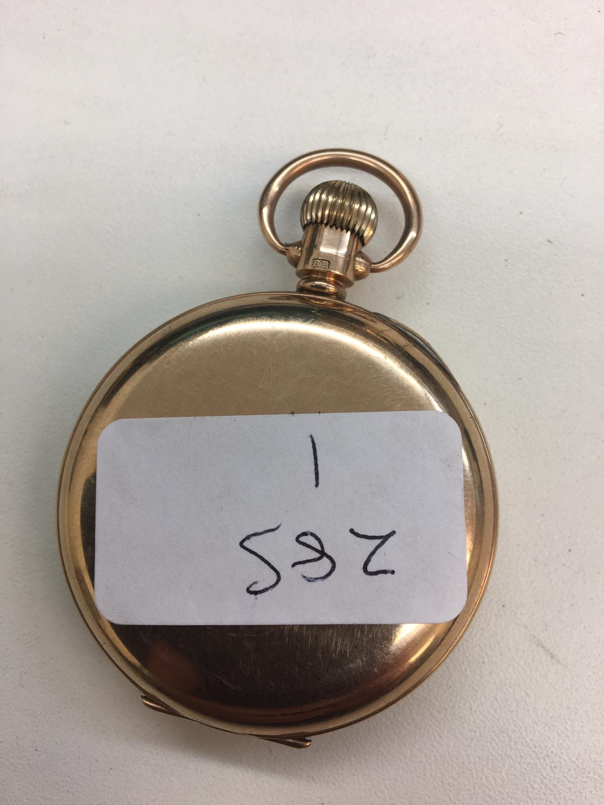 Lot 11 - 9ct gold pocket watch with gold dust cover full working order, dial clean total weight 71.6g