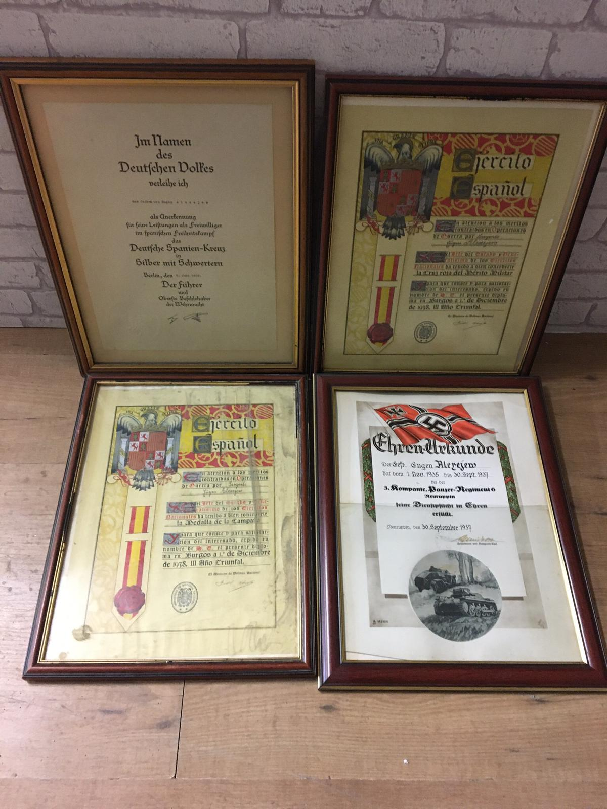Lot 317 - Four framed WWII German spanish order certificates.