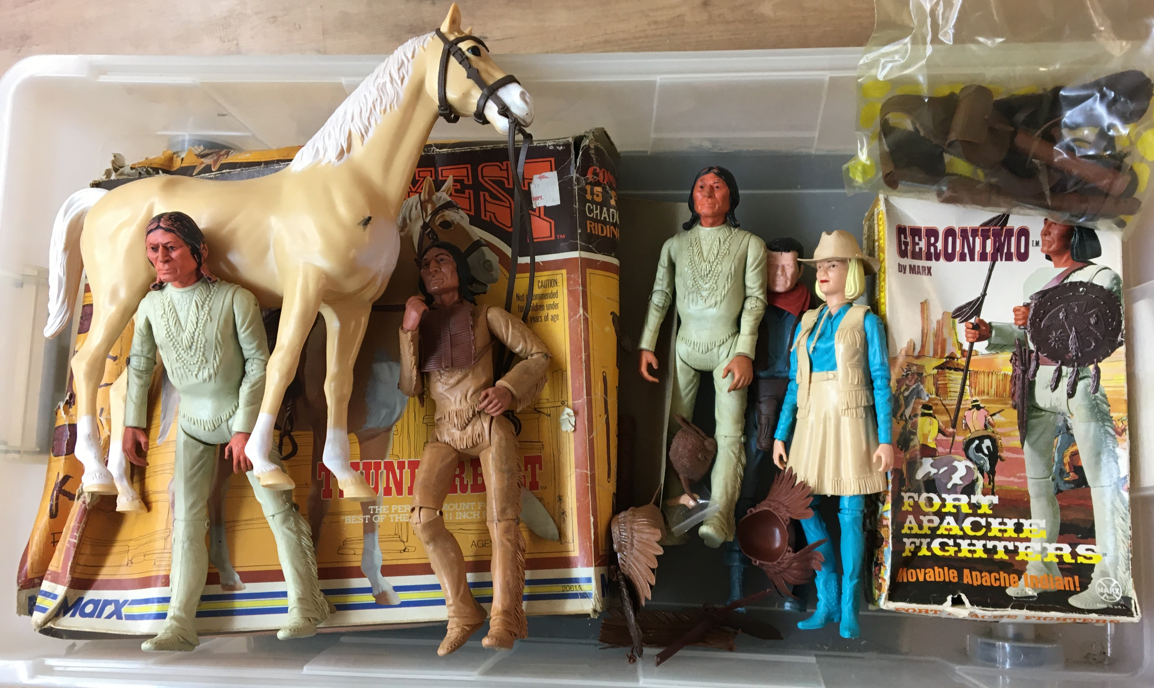 "Lot 274 - Boxed Geronimo by Marx and boxed Horse """"Thunderbolt"""" and five other figures"