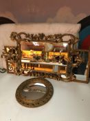 Three gilt mirrors.