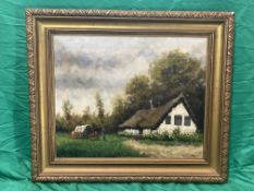 Oil on Board of cart by a rural cottage.