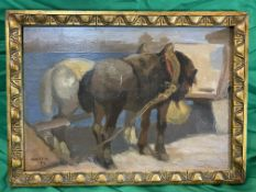 L Kunffy , Hungarian oil on board of two horses. c1917 signed lower left. 25 cm x 36 cm.
