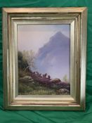 Nils Christiansen 19th C Oil of cattle with mountain in foreground