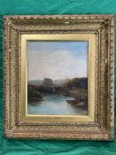 Oil on canvas c 1900 of Lake scene, monogrammed VC
