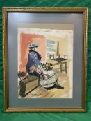John Tookey watercolour of a flowerseller. signed lower left.