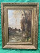 19th c Oil on canvas of farm scene and horse by crossing. signed lower left.