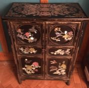 20th C Chinese inlaid cabinet, set with semi-precious hardstones of flowers and birds.