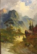 W Richards oil on canvas of woman by cottage in mountains.