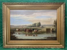 G.K.Bury signed Victorian oil on canvas of Cattle watering.signed lower right 1898.