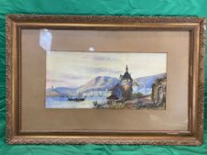 E Andre watercolour of a river landscape, signed lower left 22cm x 50cm.