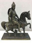 "19th c Bronze of King Clovis on horseback, bronze signed ""Roi Clovis""."