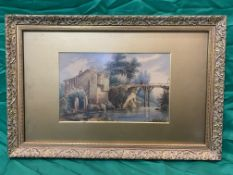 Italian scene watercolour of man on bridge, unsigned.