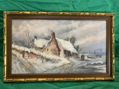19th c oil on canvas of a Winter scene of lake by cottage monogrammed M.S.