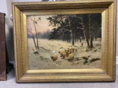 R Mcneill large oil on canvas of sheep in winter scene. signed lower left.