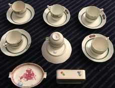 Vintage Herend cups and saucers and later Herend items.