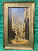 Framed19th c Persian scene with minaret and street scene.