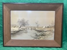 Finely embroidered silk picture of winter scene with bridge.