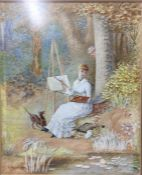 Edwardian era watercolour of woman painting by a riverside with dog and a man behind a tree.