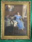 Hungarian watercolour of woman seated with dog on chair.