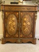 Early 20th C Louis XVI style marble topped marquetry cabinet. H 102cm x W 95 cm x D 39cm. Some damag