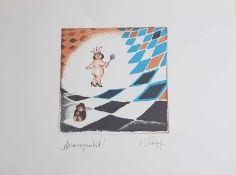 Gottfried Kumpf , Damengambit, Farblithographie , signiert , 1986 , Größe: 38 x 28 cm <b