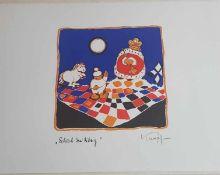 Gottfried Kumpf , Schach dem König , Farblithographie , signiert , 1986 , Größe: 38x28cm , <
