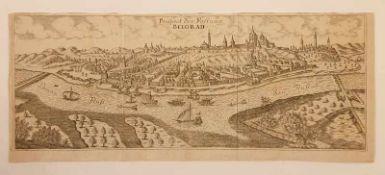 Prospect der Festung Belgrad, 18. Jahrhundert, Kupferstich, Größe: ca. 38,5 x 16cm<b