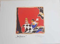 Gottfried Kumpf , Der Freibauer , Farblithographie , signiert, 1986 ,Größe: ca. 38 x 28 cm ,