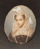 Miniaturportät , Adelige Dame , 19.Jhd., auf Elfenbein, Größe: ca.6x5cm, , <br