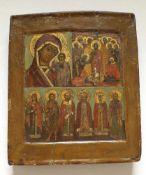 Drei Felder Ikone, Russland 18./19. Jahrhundert,Größe ca.30x27cm<b