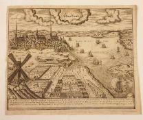 Stralsundt , 18.Jhd, Kupferstich ,Größe: ca. 40x33,5 cm<b
