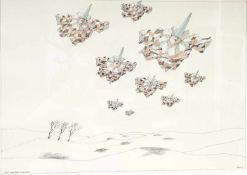 Paul Flora,(1926-2009) Lithographie , Neun Fliegende Harlekine, Signiert :Flora 93,
