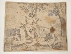 Simone Cantarini (Pesar 1612-1648 Verona), Merkur und Argus, Radierung, 17.Jahrhundert, Größe:31,