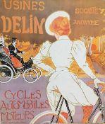 Usines Delin alte Plakatreproduktion, teilweise geknickt und beschmutzt, Maße: 59x52 cm, Ungerahmt
