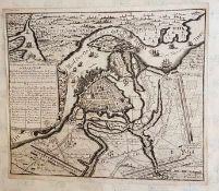 Plan und Situation von der Stadt u. Vestung Stralsund , 18.Jahrhundert ,Kupferstich, Größe: 40,2 x